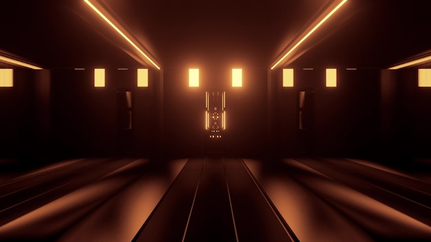 어둠 속에서 네온 노란색 불빛에 의해 조명 대칭 기하학적 터널의 추상 3d 그림