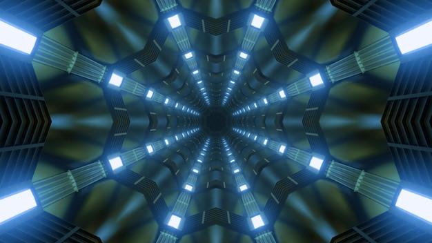Абстрактная трехмерная иллюстрация симметричного калейдоскопического темного туннеля, освещенного ярко-синей лампой