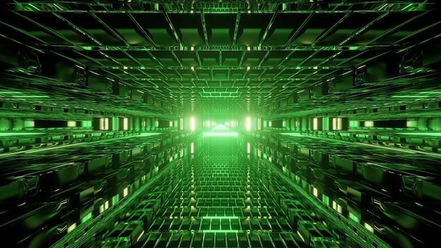 Абстрактная трехмерная иллюстрация симметричного современного туннеля, освещенного лампами ярко-зеленого цвета