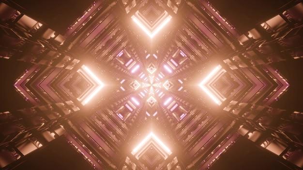 Абстрактная трехмерная иллюстрация симметричного туннеля в форме ромба, светящегося ярким коричневым освещением