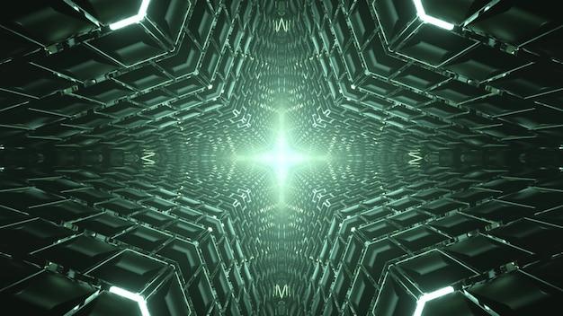 幾何学的な装飾と明るい青色の光で対称トンネルの抽象的な3dイラスト