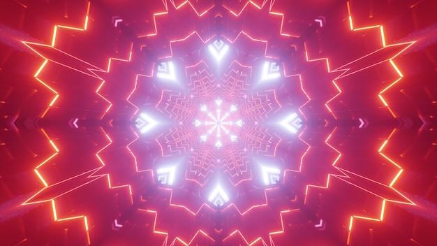 Абстрактная трехмерная иллюстрация ярких синих и красных линий, образующих симметричный орнамент в туннеле