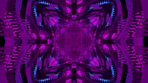 Abstract 3d illustration of purple reflecting rhombus and triangular figures forming perspective tunnel