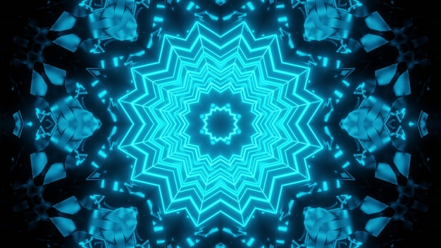 Abstract 3d illustration of round blue crystal with bright lines ornament shining on black background