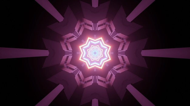 Abstract 3d illustration of science fiction gateway in dark tunnel with shiny neon crystal shaped ornament illuminating symmetric purple lines