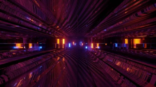 빛나는 네온 불빛과 함께 어두운 터널을 통해 이동하는 추상 3d 그림 공상 과학 소설