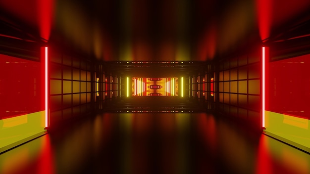 Abstract 3d illustration of symmetric corridor formed by geometric shapes and german flag colors lights