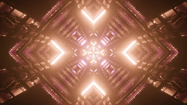 Abstract 3d illustration of symmetric rhombus shaped tunnel glowing with vivid brown illumination