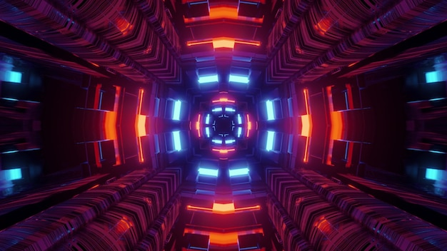 Abstract 3d illustration vibrant futuristic  of sci fi tunnel perspective with geometric shapes and glowing red and blue neon illumination