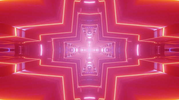 Abstract 3d illustration of vivid red neon lines glowing and forming cross shaped tunnel