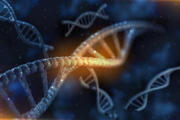 Abstract 3d image render of dna chain on blurred background. gene mutation science, healthy and medical medicine concept.