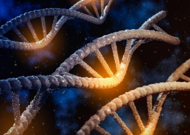 추상 3d 이미지 배경 흐리게에 dna 체인의 렌더링. 유전자 돌연변이 과학, 건강 및 의료 의학 개념.