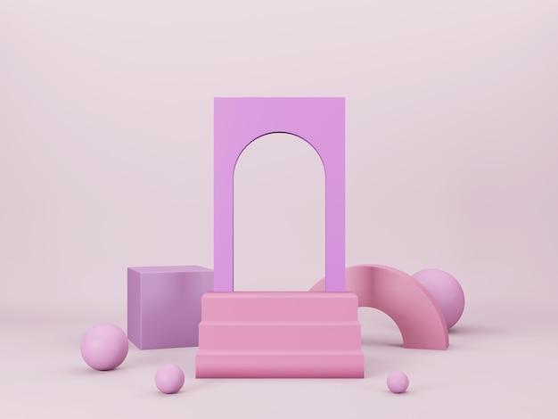 밝은 분홍색 배경에 분홍색과 보라색 기하학적 형태와 추상 3d 최소한의 장면