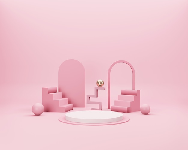 Abstract 3d minimal scene with pink, white and gold geometrical forms on pink background