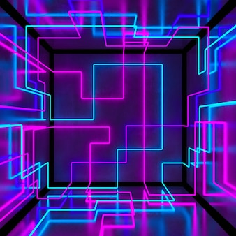 Abstract 3d neon cube box background