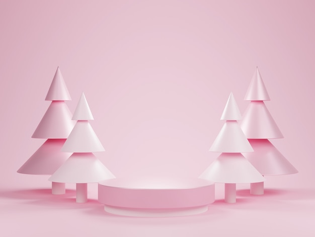 크리스마스 트리와 추상 3d 핑크 실린더 받침대 연단