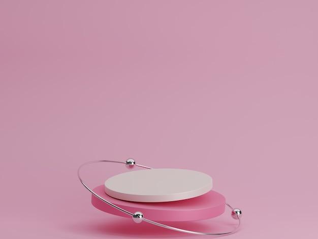링과 금속 공이 있는 추상 3d 분홍색 실린더 받침대 연단