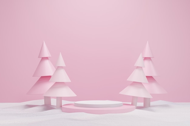Abstract 3d pink geometric circle pedestal podium with christmas tree