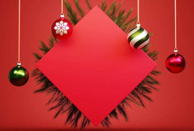 Abstract 3d red cube background square with christmas balls and plant