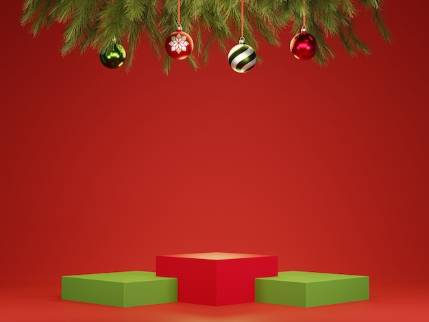Abstract 3d red green geometric circle pedestal podium with christmas balls and tree