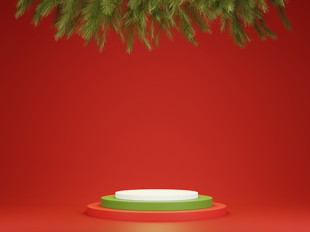 Abstract 3d red green geometric circle pedestal podium with christmas tree