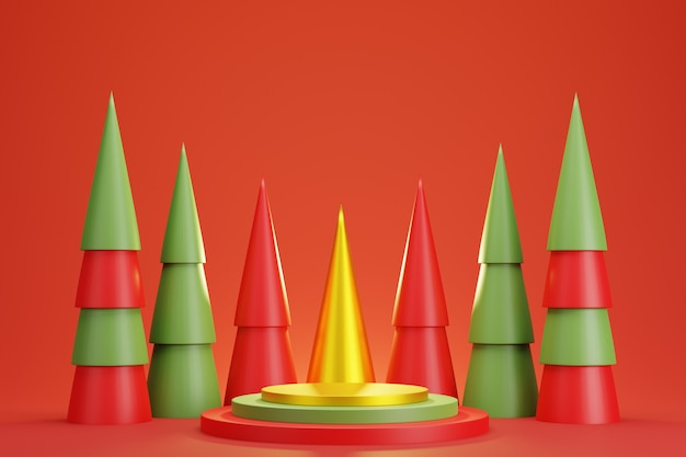 Abstract 3d red green gold geometric circle pedestal podium with christmas tree