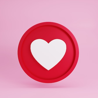 Абстрактная 3d красная метка кнопки любви на розовом фоне