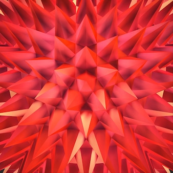 Abstract 3d red shimmering sharp crystals