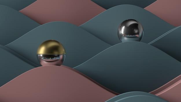 Абстрактные 3d визуализации. металлический шар на волнистой геометрии. минимальная абстрактная композиция.