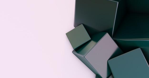 추상 3d 렌더링, 현대 기하학적 배경 디자인, 흰색 배경에 고립 된 3d 블랙 큐브.