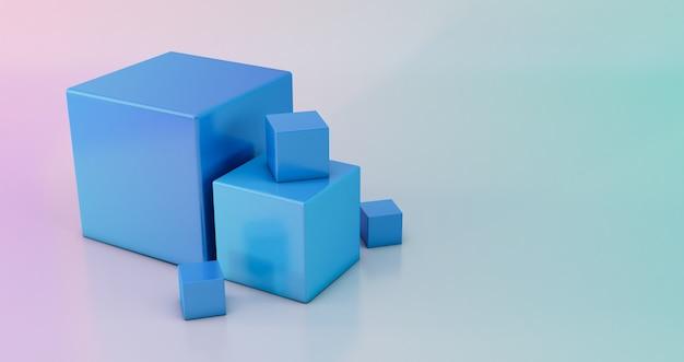 추상 3d 렌더링, 현대 기하학적 배경 디자인, 3d 그라데이션 큐브 배경.