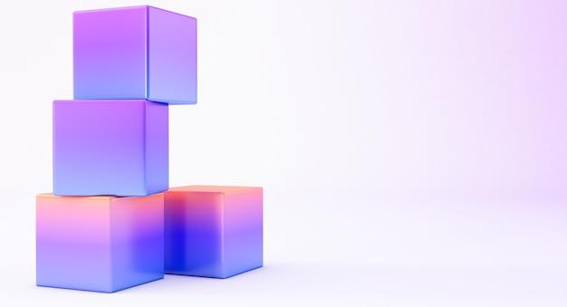 추상 3d 렌더링, 현대 기하학적 배경 디자인, 흰색 배경에 고립 된 3d 그라데이션 큐브.