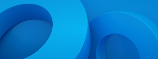 Abstract 3d render, modern geometric elements, graphic design with circles over blue background, panoramic image