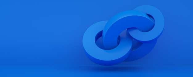 Abstract 3d render, modern geometric elements, graphic design with circles over blue background, panoramic layout image
