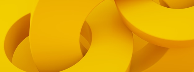 Abstract 3d render, modern geometric elements, graphic design with circles over yellow background, panoramic image