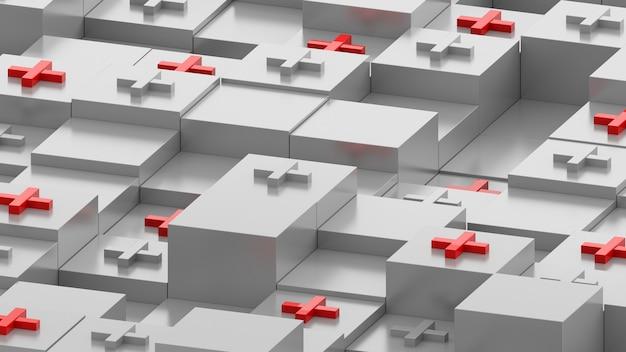 관점에서 상자의 추상 3d 렌더링입니다. 정사각형 기본체 상단의 십자 기호입니다. 임의의 높이를 가진 큐브는 디메트릭 관점에서 기하학적 배경을 형성합니다.