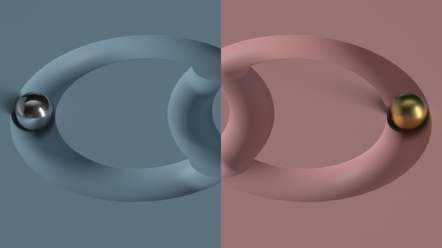 Абстрактные 3d визуализации минимальной геометрической композиции. катание металлических шариков в углубление геометрии.
