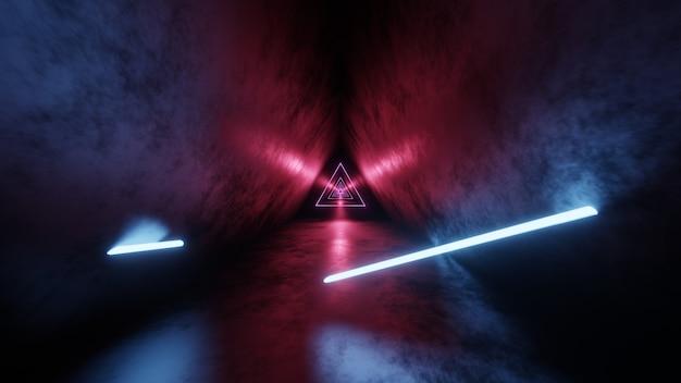 ネオン、光るライトチューブ、レーザー、ラインが暗いトンネル内で跳ね返り、前方に移動する抽象的な3dレンダリング。