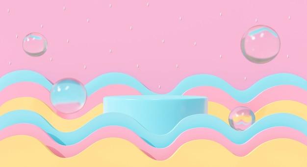 Абстрактные 3d визуализации постамента, подиума на пастельном фоне. милая радуга с водой пузырей.