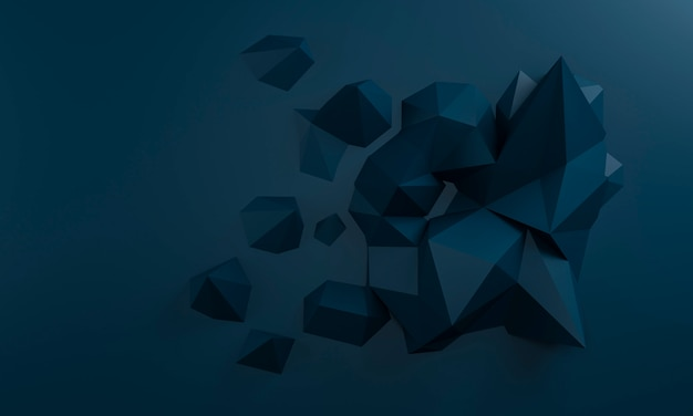 Abstract 3d render, polygon background, graphic design
