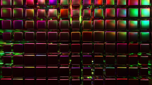 ネオンライトで立方体を使用した抽象的な3dレンダリング