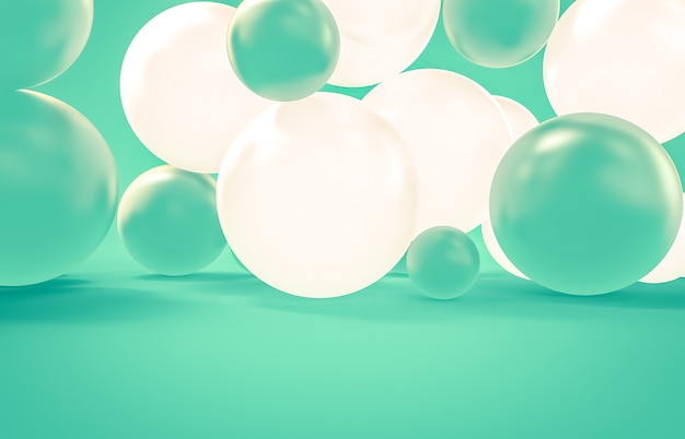Abstract 3d render with geometric balloons for holidays, celebration, event background. christmas background.