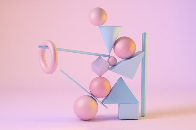 Abstract 3d rendered scene of geometric shapes in equilibrium. spheres, triangles, squares, bulls, cones in pink and blue colors. vertical