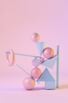 Abstract 3d rendered scene of geometric shapes in equilibrium. spheres, triangles, squares, bulls, cones in pink and blue colors.
