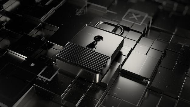 추상적인 3d 렌더링된 기술 배경입니다. 디지털 테마입니다. 잠금은 무작위로 이동된 정사각형 기본 요소와 함께 골절된 표면에 놓여 있습니다. 금속 재료 및 입자 요소.