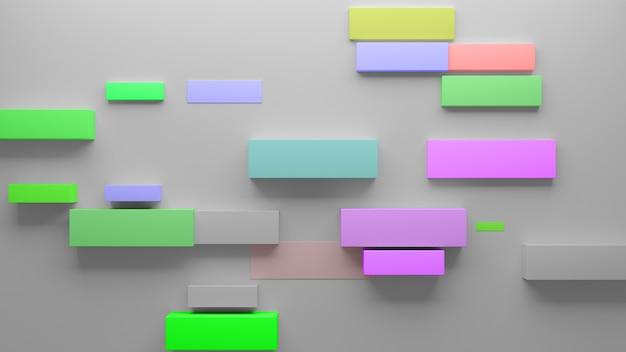 Абстрактный фон 3d-рендеринга с прямоугольными формами. свет ставится сверху, тени опускаются вниз. случайный размер элемента. низкоконтрастный корпоративный фон.