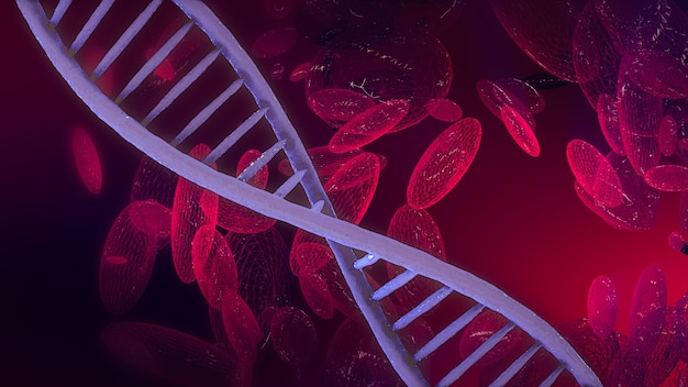 Abstract 3d rendering of dna blood cell on scientific background.
