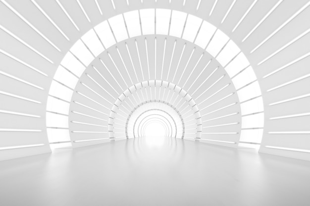 Abstract 3d rendering of empty futuristic arch tunnel room with light on the wall. sci-fi concept.