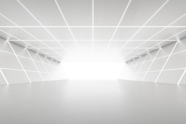 Abstract 3d rendering of empty futuristic tunnel room with light on the wall. sci-fi concept.