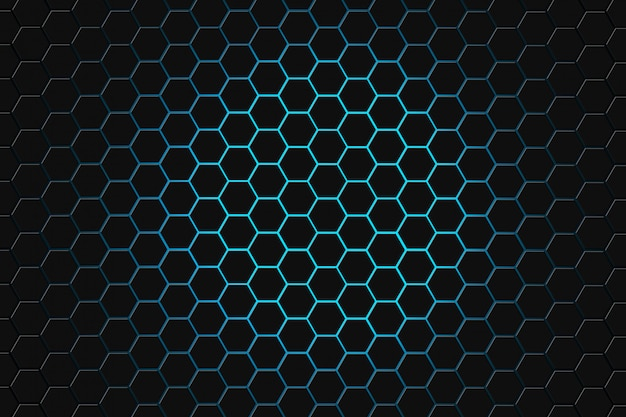 Abstract 3d rendering of futuristic surface with hexagons. dark green sci-fi background.